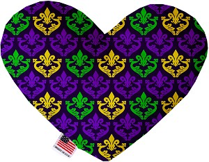 Classic Fleur de Lis 8 inch Stuffing Free Heart Dog Toy