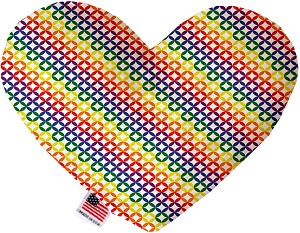 Rainbow Bright Diamonds 8 inch Stuffing Free Heart Dog Toy