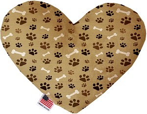 Mocha Paws and Bones 6 inch Stuffing Free Heart Dog Toy