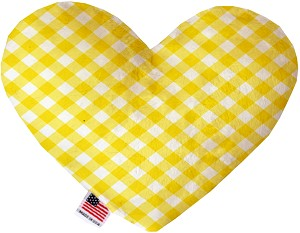Yellow Plaid 8 inch Stuffing Free Heart Dog Toy