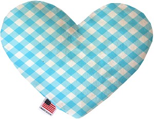 Baby Blue Plaid 8 inch Stuffing Free Heart Dog Toy