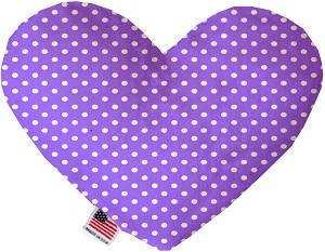 Purple Polka Dots 8 inch Stuffing Free Heart Dog Toy