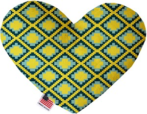 Yellow Southwest 6 inch Stuffing Free Heart Dog Toy