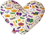 Mardi Gras Masks 8 inch Stuffing Free Heart Dog Toy