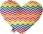 Rainbow Chevron 6 inch Stuffing Free Heart Dog Toy