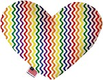 Rainbow Fun Stripes 8 inch Stuffing Free Heart Dog Toy