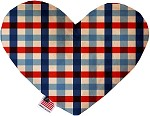 Patriotic Plaid 6 inch Stuffing Free Heart Dog Toy