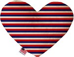 Patriotic Stripes 8 inch Stuffing Free Heart Dog Toy