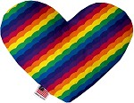 Scalloped Rainbow 8 inch Stuffing Free Heart Dog Toy