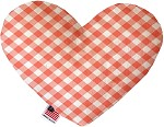 Peach Plaid 6 inch Stuffing Free Heart Dog Toy