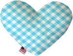 Baby Blue Plaid 6 inch Stuffing Free Heart Dog Toy