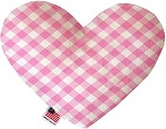 Baby Pink Plaid 8 inch Stuffing Free Heart Dog Toy