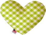 Lime Green Plaid 6 inch Stuffing Free Heart Dog Toy
