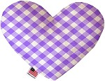 Purple Plaid 8 inch Stuffing Free Heart Dog Toy