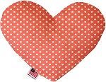 Peach Polka Dots 6 inch Stuffing Free Heart Dog Toy
