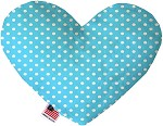 Aqua Polka Dots 8 inch Stuffing Free Heart Dog Toy