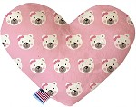 Pink Bears and Bows 8 inch Stuffing Free Heart Dog Toy