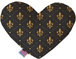Black and Gold Fleur de Lis 6 inch Stuffing Free Heart Dog Toy