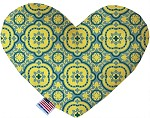 Blue and Yellow Moroccan Patterned 8 inch Stuffing Free Heart Dog Toy