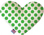 White and Green Dotted 8 inch Stuffing Free Heart Dog Toy