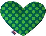 Green on Green Dots 8 inch Stuffing Free Heart Dog Toy