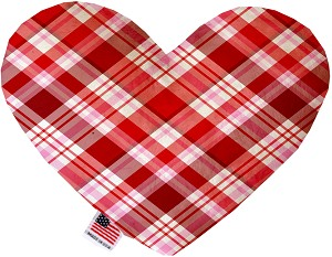 Valentines Day Plaid 6 inch Heart Dog Toy