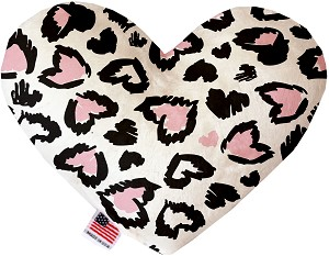Pink Leopard Hearts 8 inch Heart Dog Toy
