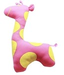 Sweet Giraffe Plush Dog Toy Pink and Yellow