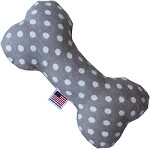 Swiss Dots 6 inch Bone Dog Toy Grey