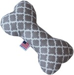 Quatrefoil 6 inch Bone Dog Toy Grey
