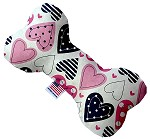 Mixed Hearts  8 inch Stuffing Free Bone Dog Toy
