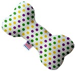 Mardi Gras Polka Dots 6 inch Bone Dog Toy