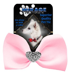 Crystal Heart Widget Pet Bowtie Light Pink