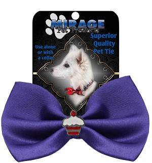 Cupcake Widget Pet Bowtie Purple