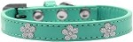 Silver Flower Widget Dog Collar Aqua Size 10