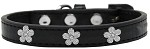 Silver Flower Widget Dog Collar Black Size 10