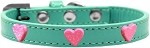Pink Glitter Heart Widget Dog Collar Aqua Size 10