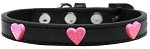 Pink Glitter Heart Widget Dog Collar Black Size 10