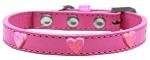 Pink Glitter Heart Widget Dog Collar Bright Pink Size 10