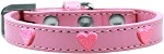 Pink Glitter Heart Widget Dog Collar Light Pink Size 10