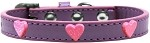 Pink Glitter Heart Widget Dog Collar Lavender Size 10