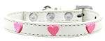 Pink Glitter Heart Widget Dog Collar White Size 10