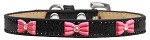 Pink Glitter Bow Widget Dog Collar Black Ice Cream Size 10