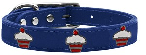 Red Cupcake Widget Genuine Leather Dog Collar Blue 22