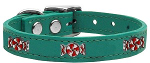 Peppermint Widget Genuine Leather Dog Collar Jade 16