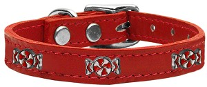 Peppermint Widget Genuine Leather Dog Collar Red 20